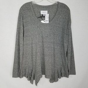 Current/Elliott NWT The Tier Long Sleeve Top Gray